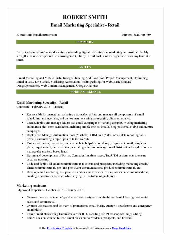 Email marketing specialist resume example (text version) victoria alves Email Marketing Specialist Resume Samples Qwikresume
