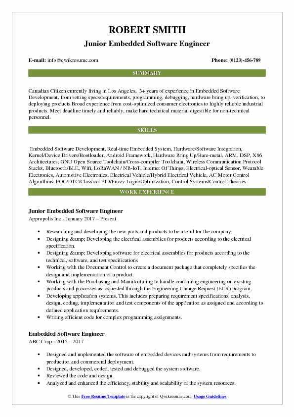 example embedded software engineer resume