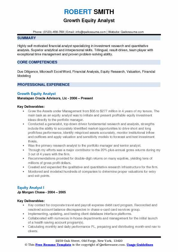 growth investment resume examples