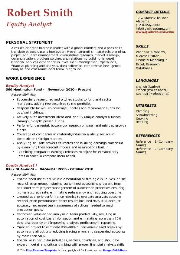equity analyst resume example