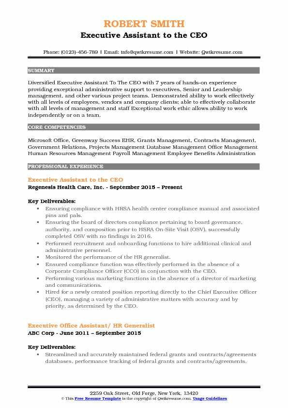 executive assistant summary on resume