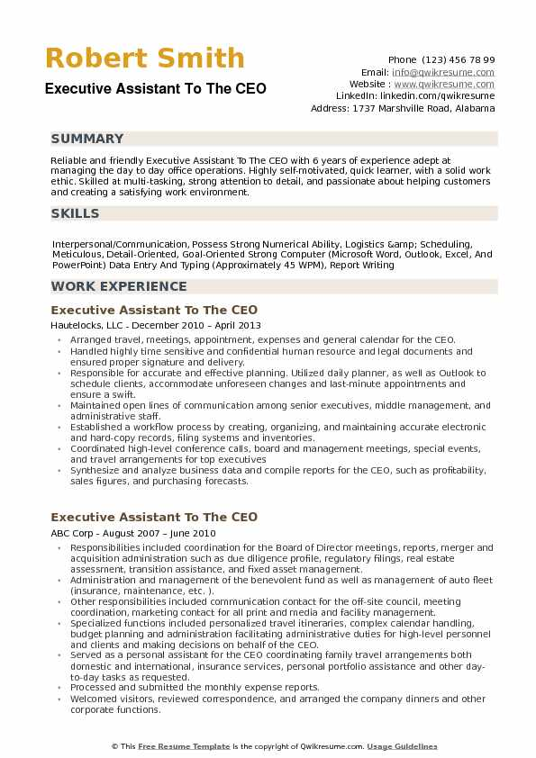 executive assistant to ceo resume samples