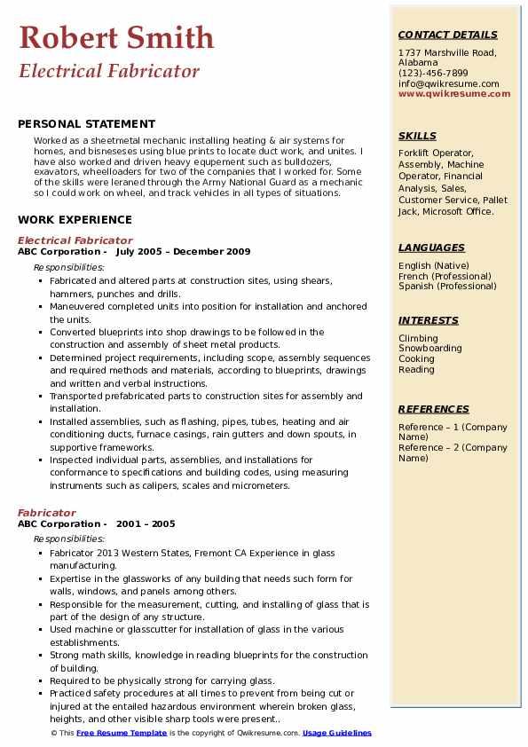 metal fabricator resume samples
