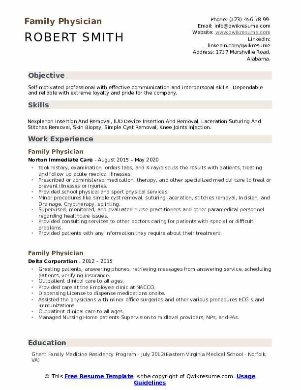 See 20+ templates and create your resume here. Family Physician Resume Samples Qwikresume