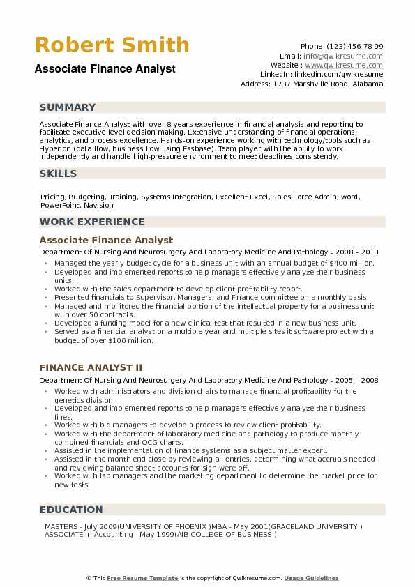 · conducting analysis of potential spending and investment. Finance Analyst Resume Samples Qwikresume