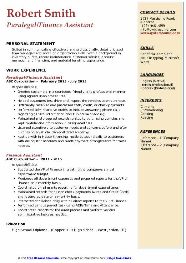 Finance Assistant Resume Samples Qwikresume