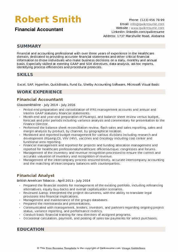 Financial Accountant Resume Samples