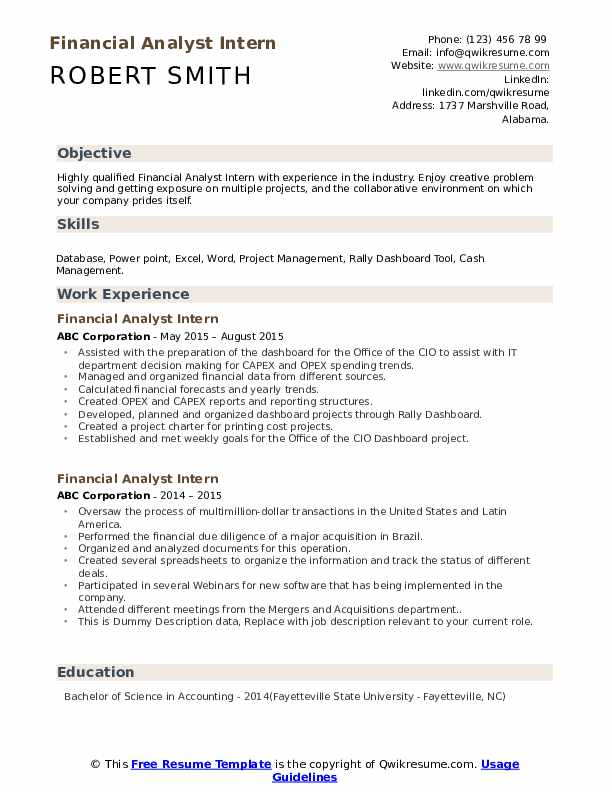 Seeking the position of a financial analyst with jack and jill investment. Financial Analyst Intern Resume Samples Qwikresume