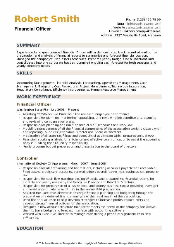 resume for a position example