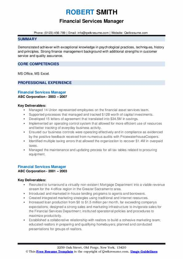 Financial Services Manager Resume Samples Qwikresume