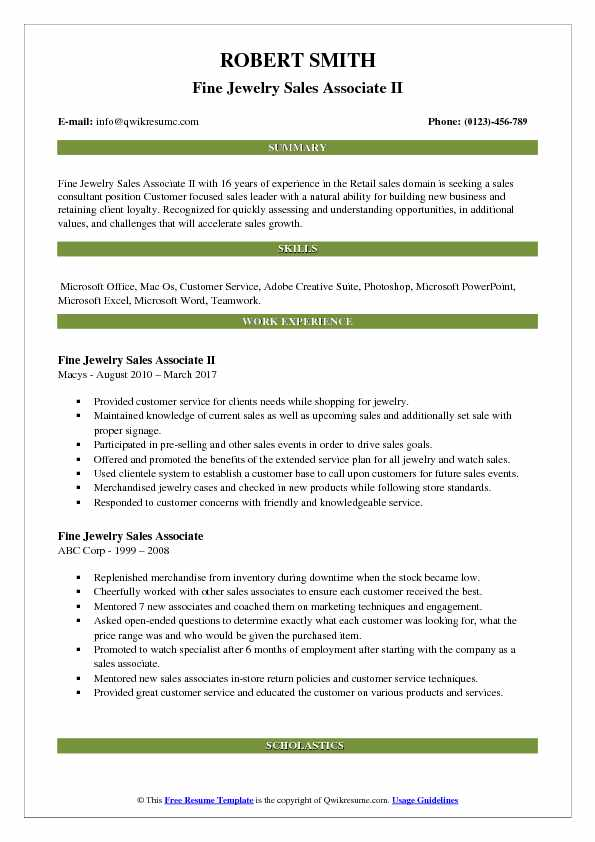 sales summary for resume samples