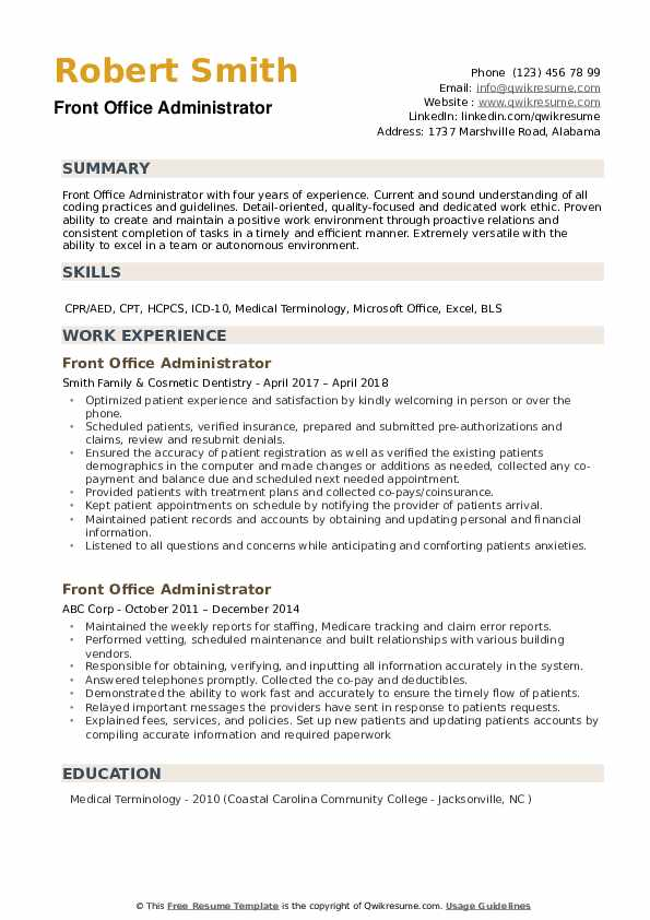 Many office assistants working in legal, medical or other areas do need to. Front Office Administrator Resume Samples Qwikresume