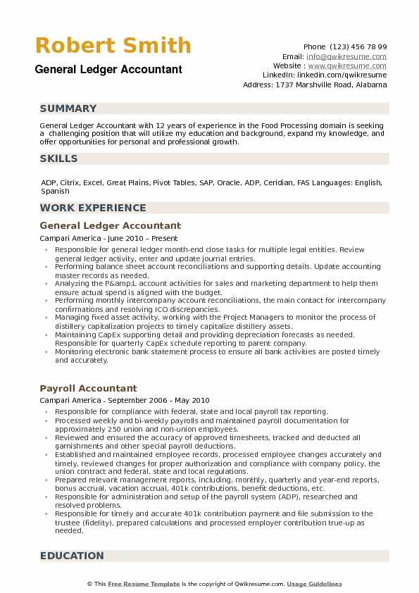 General Ledger Accountant Resume Samples QwikResume