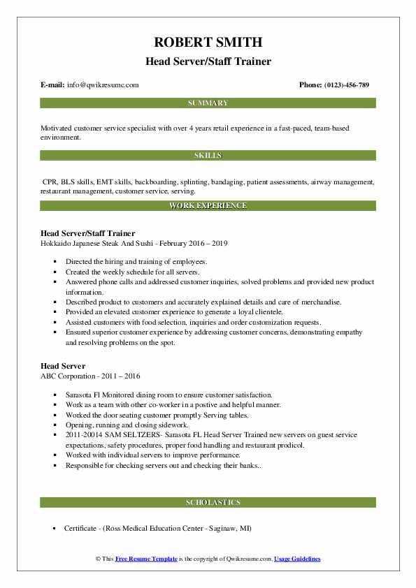 head server resume samples