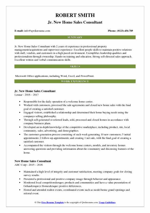 resume samples for new home sales