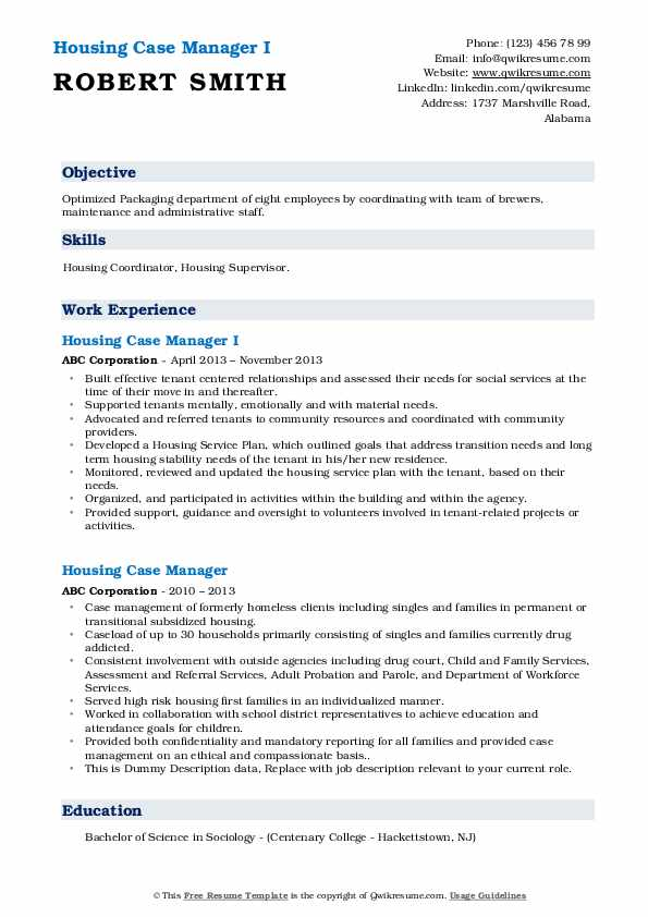 housing stability case manager sample resume