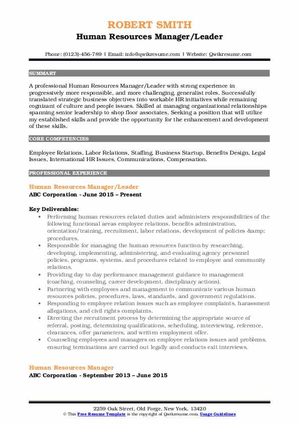 hr manager resume sample pdf