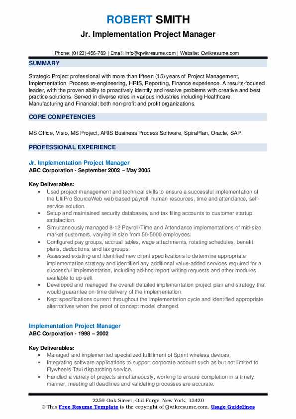 sap project manager resume samples