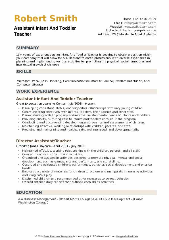 Resume For Childcare
