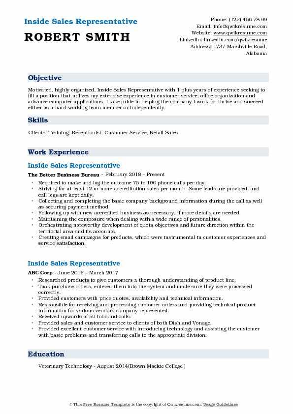Inside Sales Representative Resume Samples