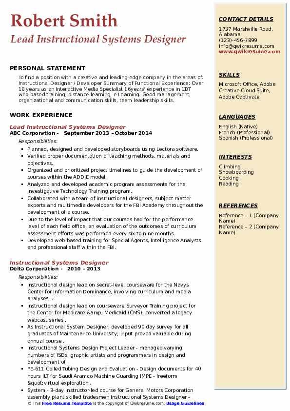 resume samples for instructional designers