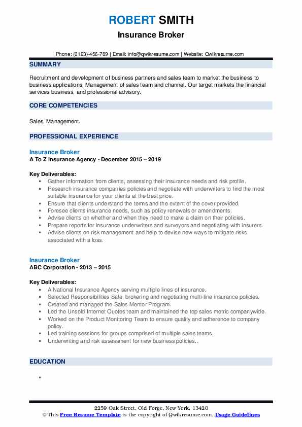 insurance company resume samples