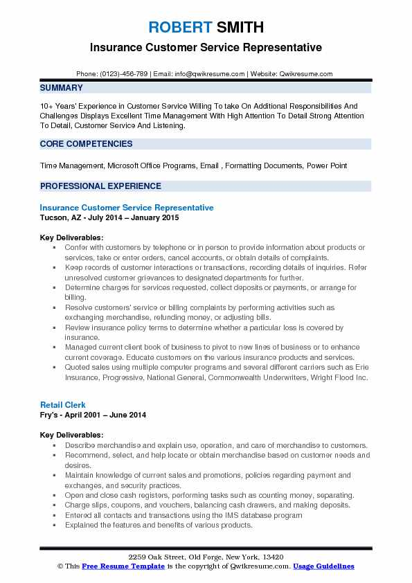 Insurance Sample Resume Resume Sample