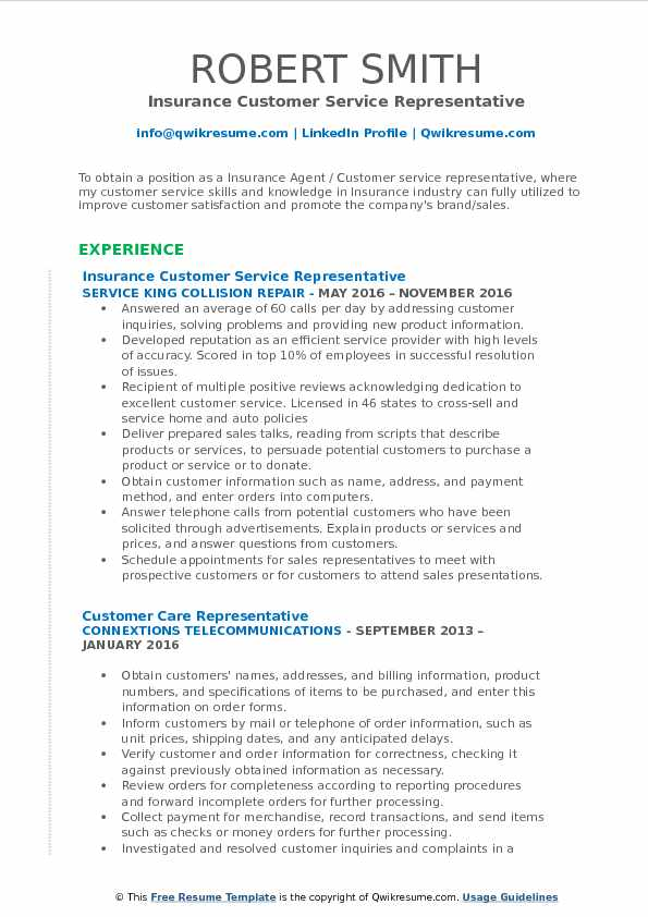 Insurance Customer Service Representative Resume Samples
