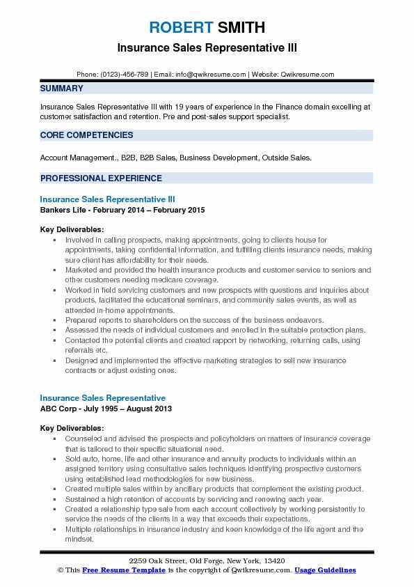 insurance sales representative resume samples