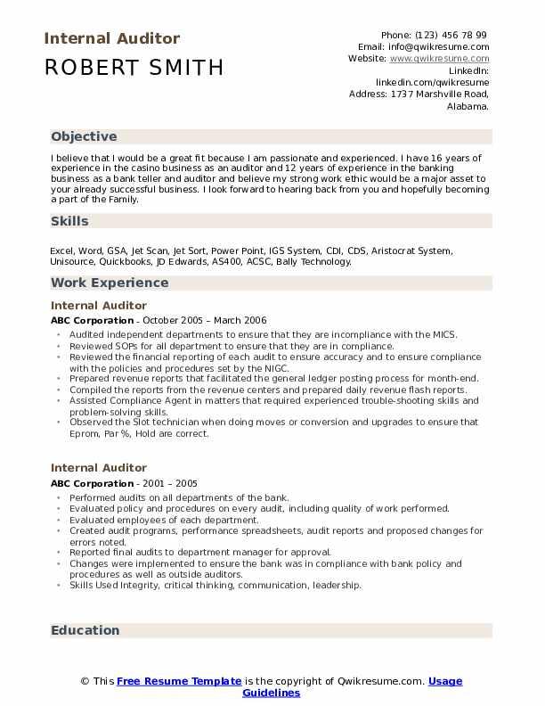 Applying For An Internal Position Resume Sample : applying, internal, position, resume, sample, Internal, Auditor, Resume, Samples, QwikResume