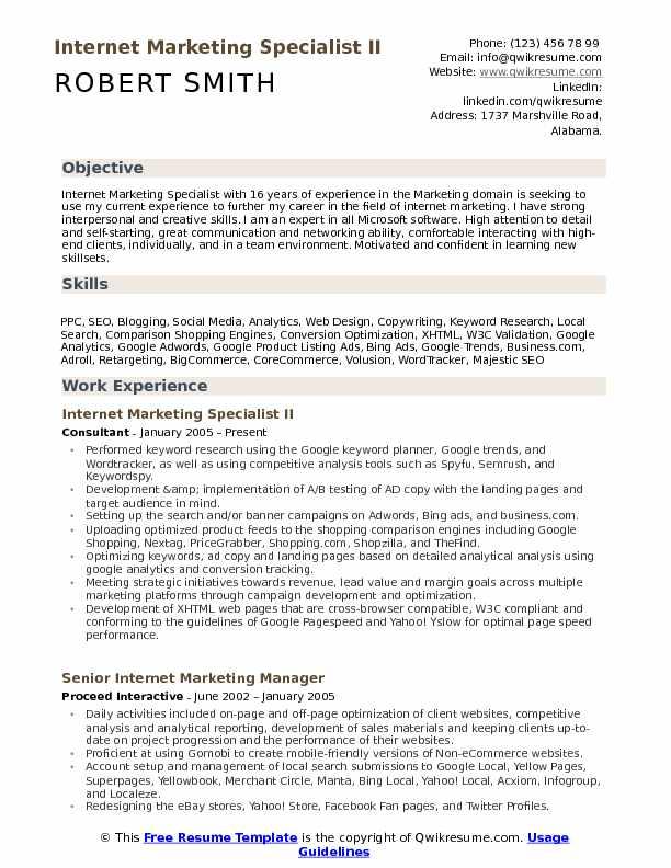 Make your very own slogan. Internet Marketing Website Marketing Resume