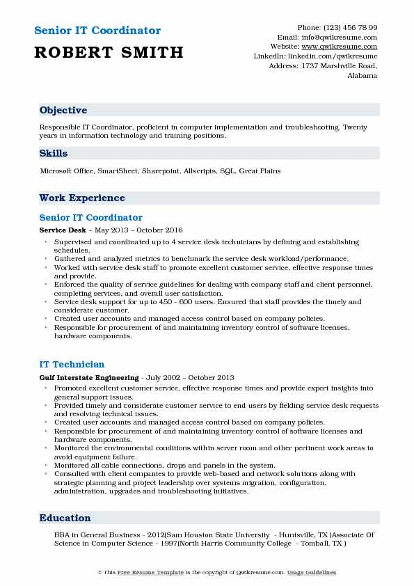 IT Coordinator Resume Samples QwikResume