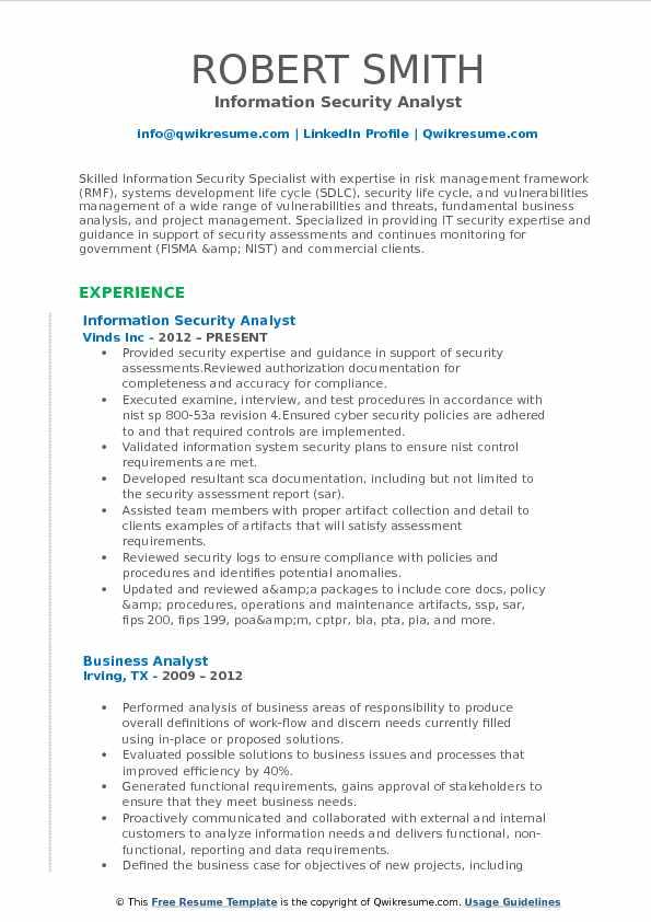 IT Security Analyst Resume Samples QwikResume