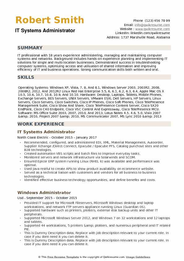 windows systems administrator resumes