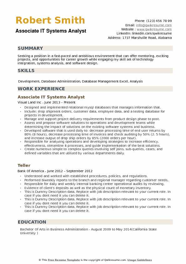 resume system analyst sample