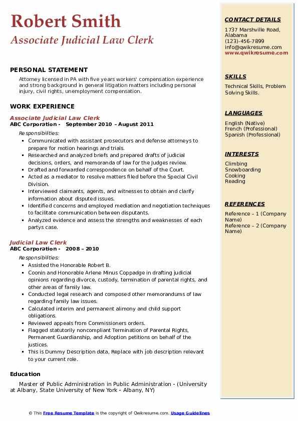 Judicial Law Clerk Resume Samples | QwikResume