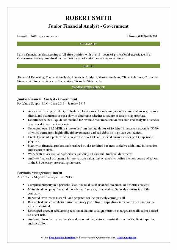 financial data analyst resume