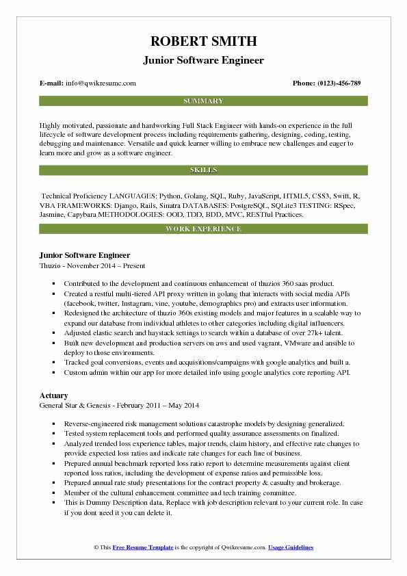 junior full stack developer resume example