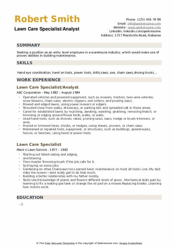 lawn care resume template