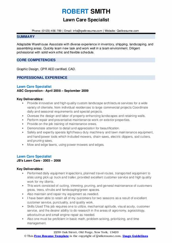 Although a maintenance schedule is usually frequently present in big homes and offices, it is usually beginning to find favor with others also. Lawn Care Specialist Resume Samples Qwikresume
