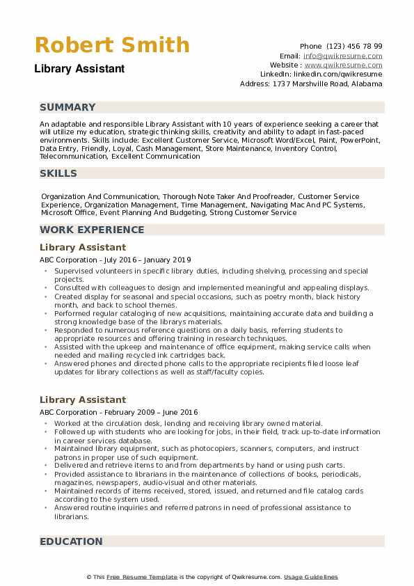 resume for library assistant