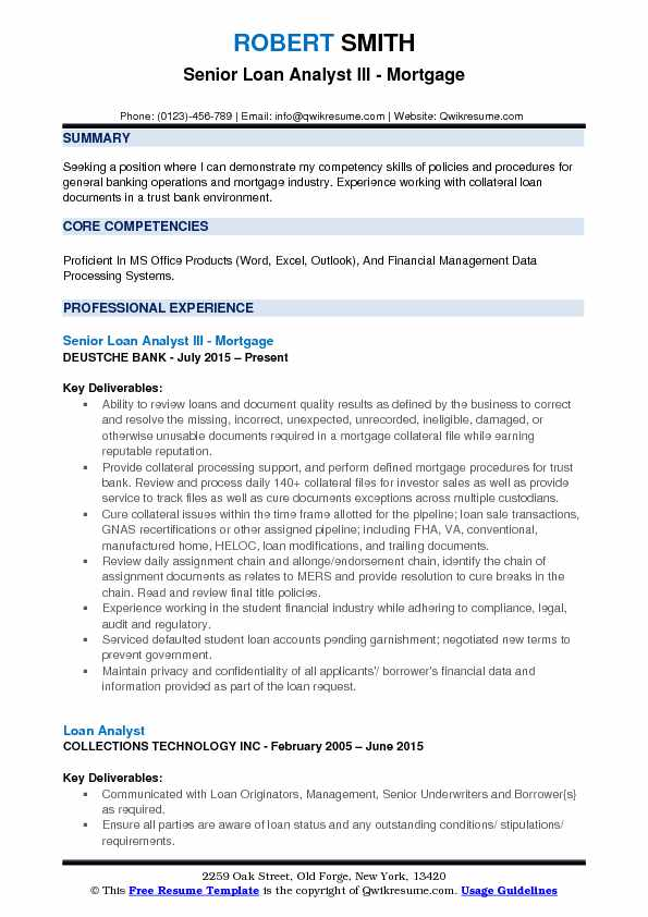 mortgage business analyst resume samples
