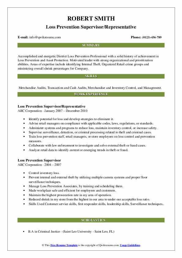 resume objective for retail loss prevention