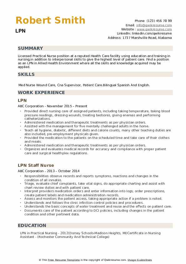 lpn resumes examples