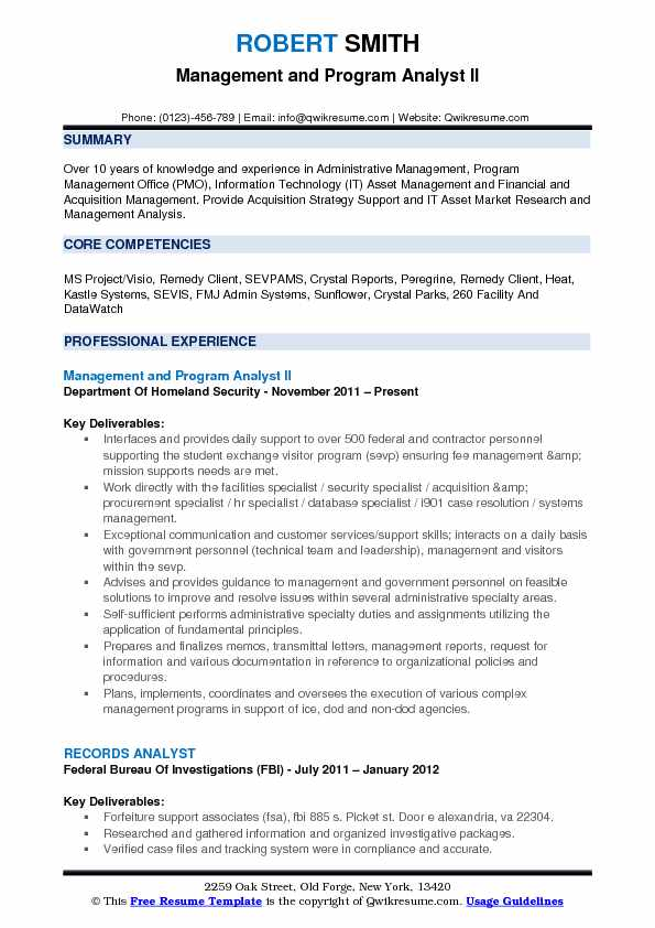 Government Contractor Resume