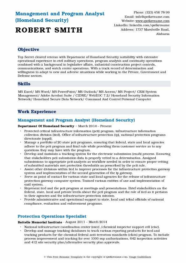 managment program analyst department of defense resume examples