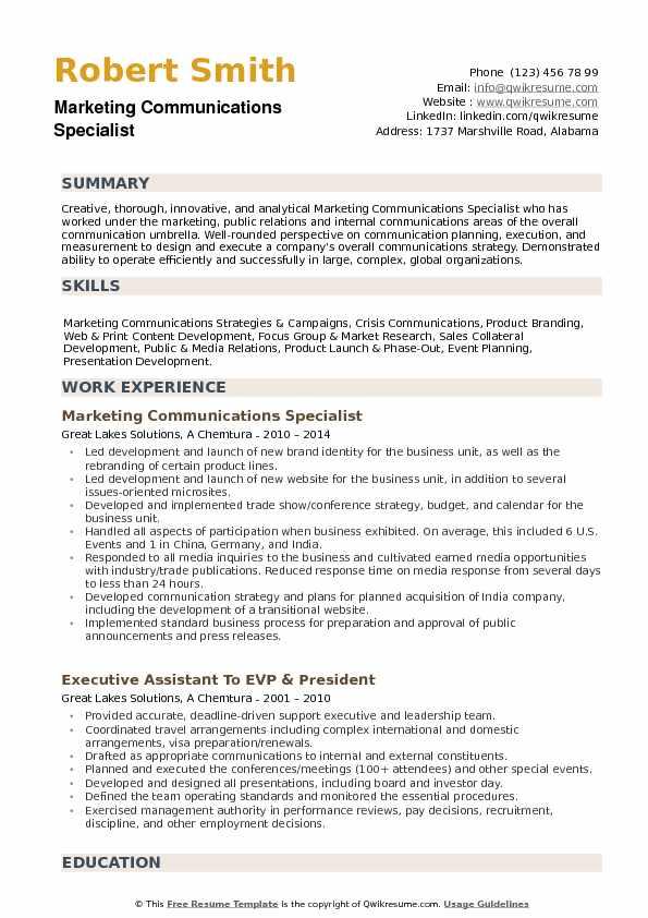 Marketing Communications Specialist Resume Samples