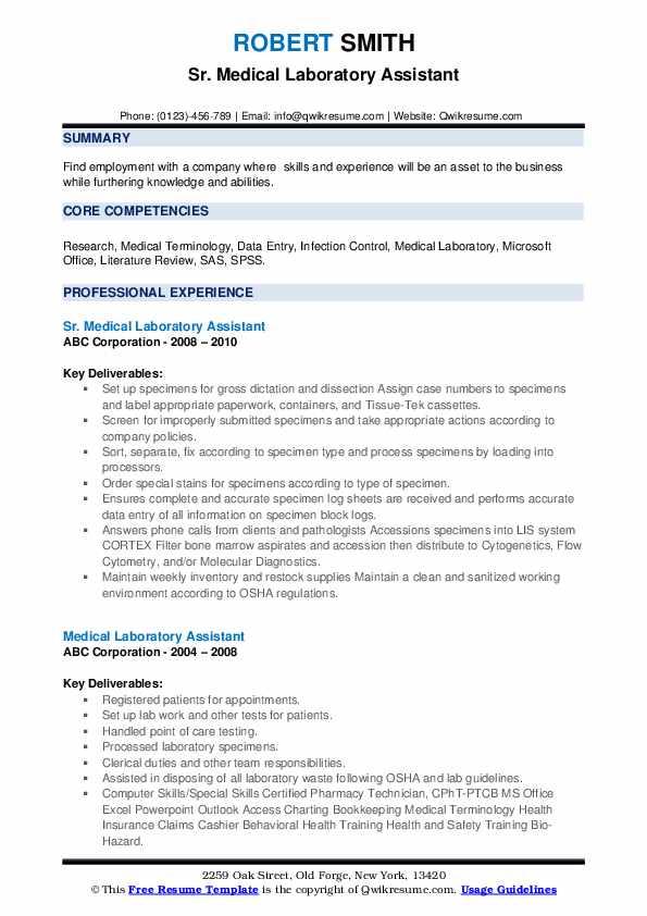 medical laboratory assistant resume  resume sample