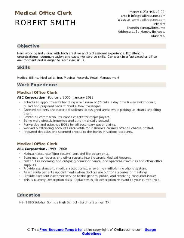 According to the american association of medical assistants (aama), a medical assistant is a medical professional who is responsible for working alongside physicians in outpatient and ambulatory care facilities, such as medical offices and clinics. Medical Office Clerk Resume Samples Qwikresume