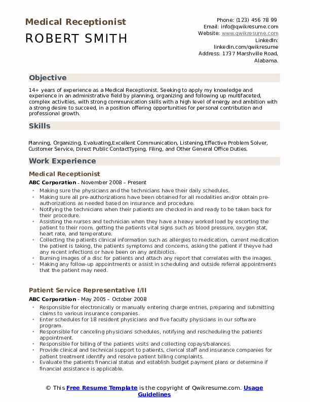 sample resume for receptionist in medical office